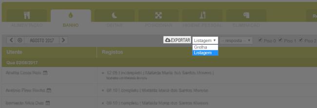 controlo - listagem e exportação