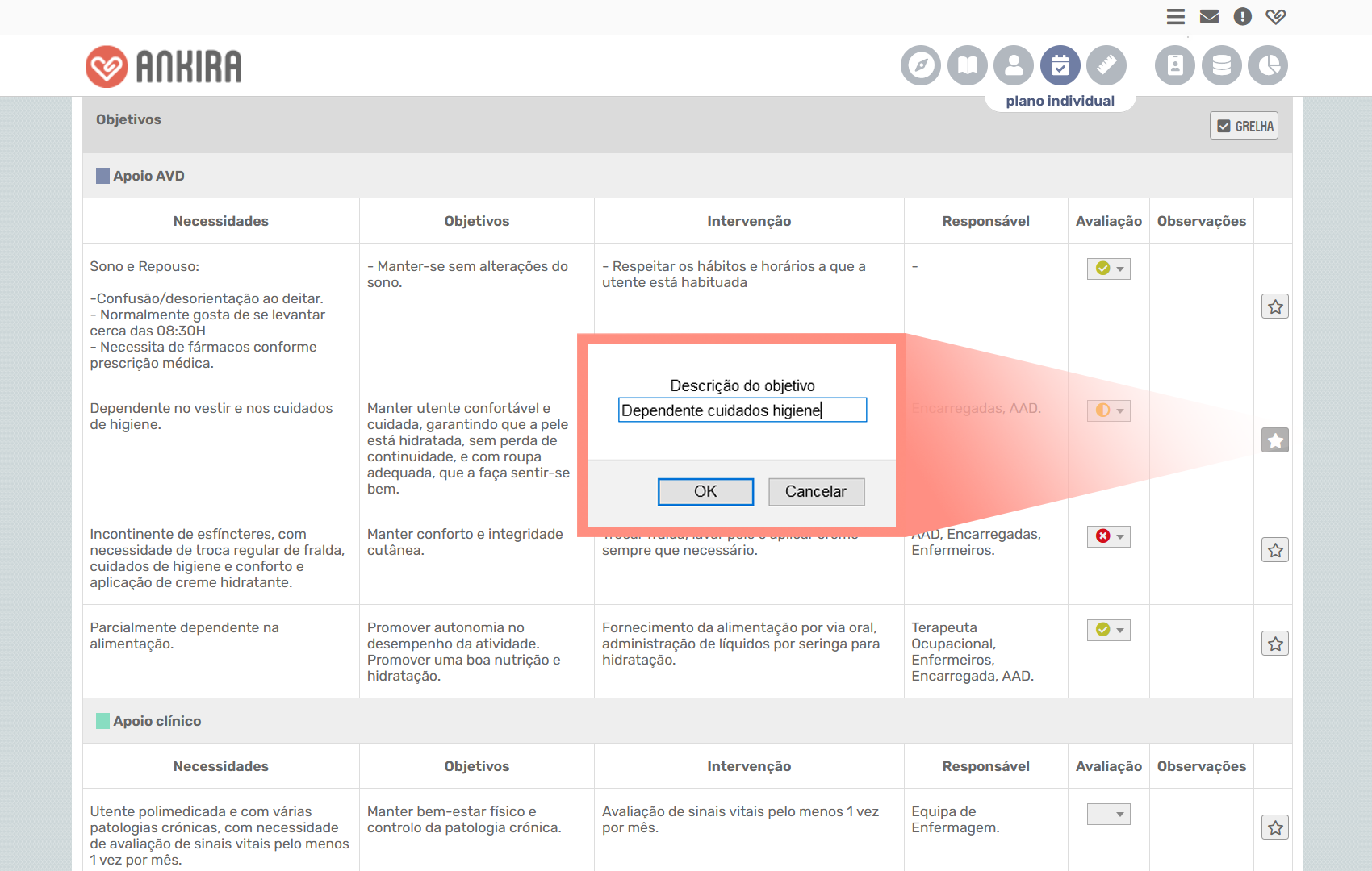 Ecrã da plataforma Ankira com plano individual do idoso com objetivos favoritos